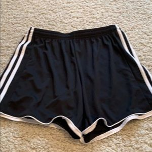 Adidas shorts black with white stripes down sides